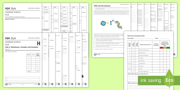 AQA Biology Inheritance, Variation and Evolution (Combined) Higher Assessment Pack