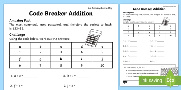 Code Breaker Addition Worksheet Activity Sheet Amazing