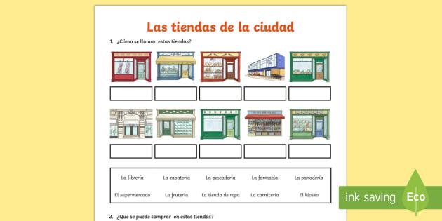 Shops In Town Worksheet Activity Sheet Spanish
