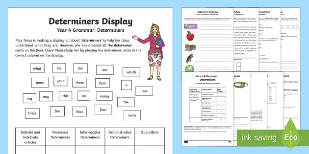 Year 4 Grammar Determiners Learning From Home Activity