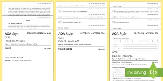 AQA English Language Paper 1: Full Practise Paper - Phantom of the Opera