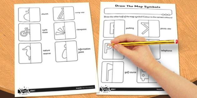 Draw The Map Symbols Worksheet Activity Sheet