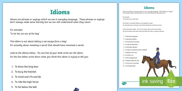 Idiom Worksheet Teacher Made