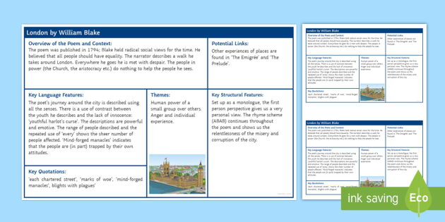 London by William Blake Revision Sheet