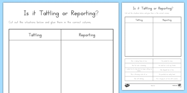 Is It Tattling Or Reporting Worksheet Worksheet Worksheet