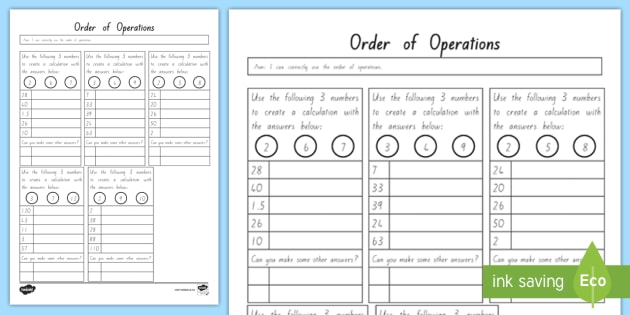 Order Of Operations Bedmas Worksheet Teacher Made