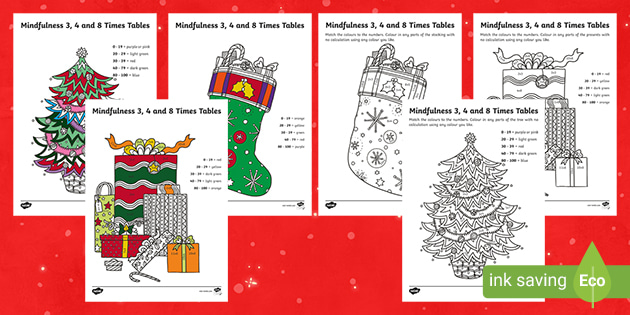 Christmas Themed Mindfulness Times Table Worksheet Activity Sheets Plants