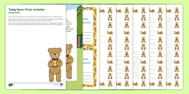 editable teddy bears picnic invitation and resource pack