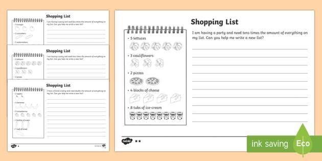Shopping List Worksheet Activity Sheets Teacher Made