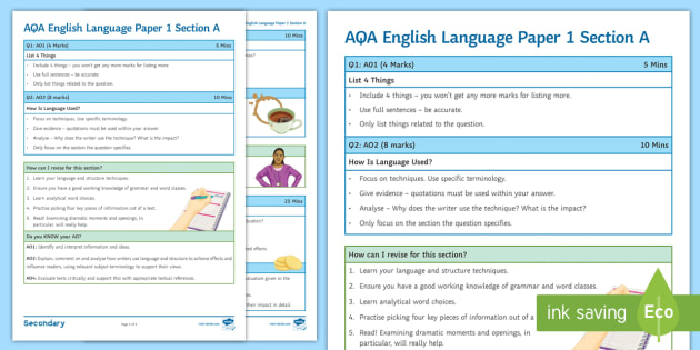 AQA English Language Paper 1 Section A: Hints and Tips