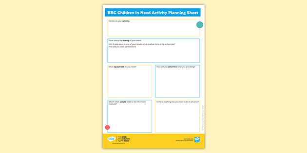 BBC Children in Need 2019: Activity Planning Sheet