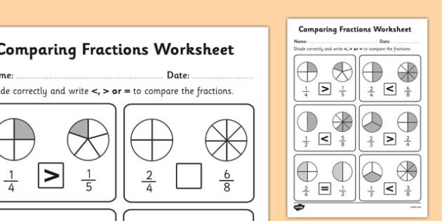 Comparing Fractions Worksheet Teacher Made