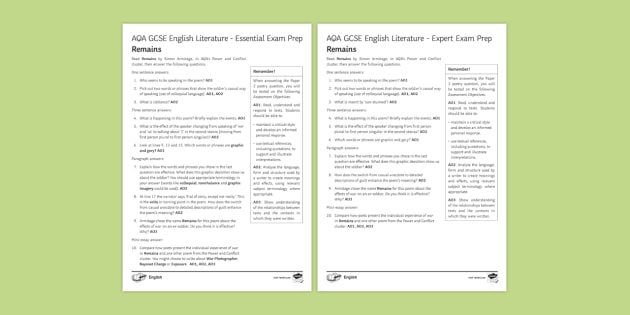 AQA GCSE Poetry Exam Prep - Remains