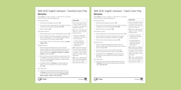 AQA GCSE Poetry Exam Prep - Remains