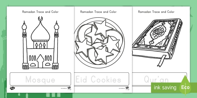 Ramadan Trace And Color Worksheets Teacher Made
