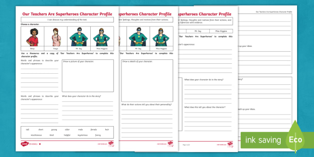 Ks2 Superhero Story Character Profile Differentiated