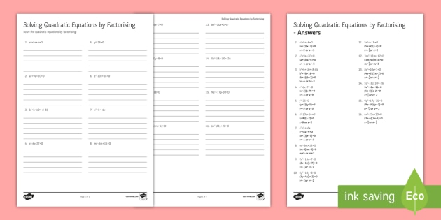 Solving Quadratic Equations By Factorising Worksheet