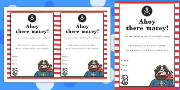 pirate themed picnic and party invitation template