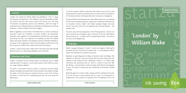 London Poem GCSE Poetry Notes for Study