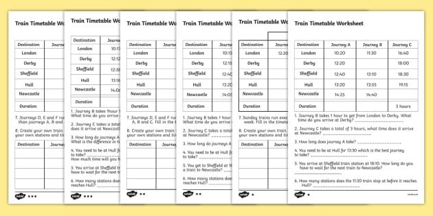 Train Timetable Worksheets For Ks2