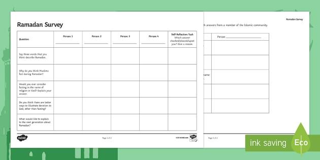 Ramadan Homework Task Worksheet Worksheet