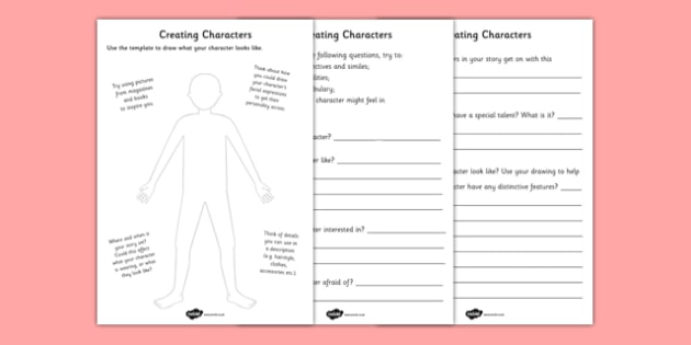 Creating A Character Worksheets