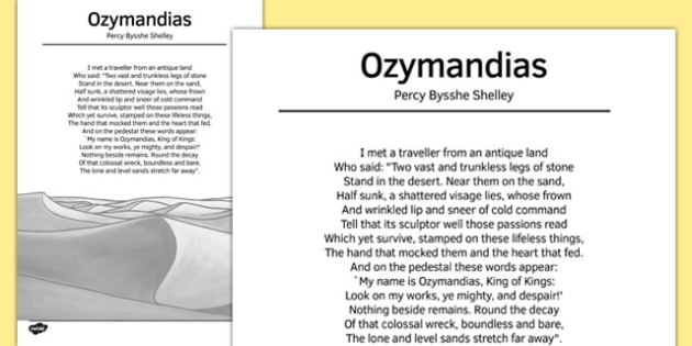 Ozymandias by Percy Bysshe Shelley Poem Sheet