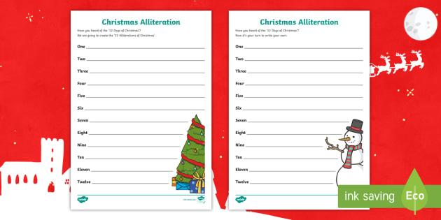 Christmas Alliteration Worksheet Activity Sheets