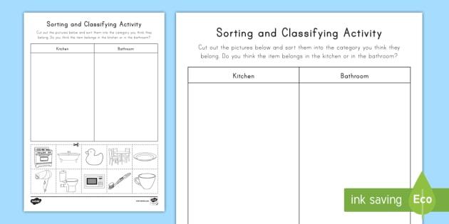 Sorting Amp Classifying Worksheet Worksheet