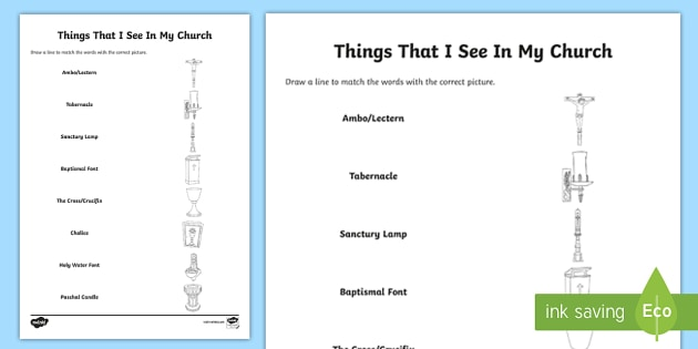 Things That I See In My Church Word And Picture Matching