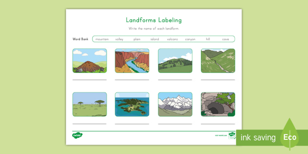 Landforms Labeling Activity Teacher Made