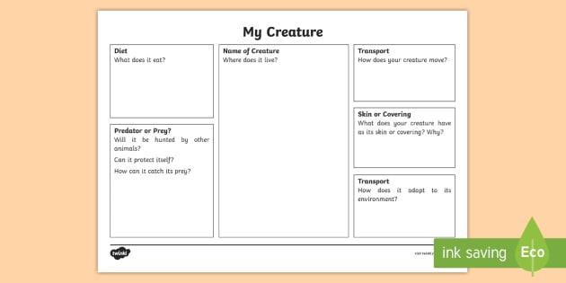Design A Creature For A Habitat Worksheet Worksheet