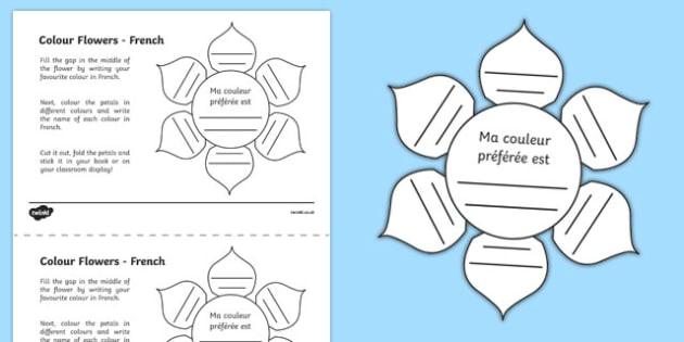 Mfl French Colour Flowers Worksheet Worksheet Worksheet