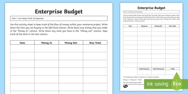 Enterprise Budget Worksheet Worksheet Teacher Made