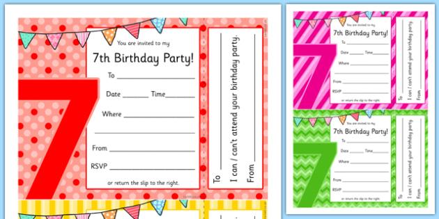 7th birthday party invitations teacher