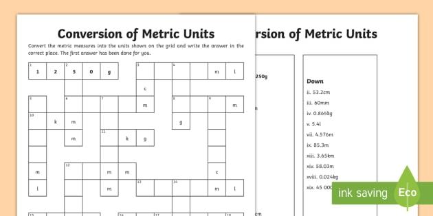 Uks2 Conversion Of Units Measurement Crossnumber Worksheet