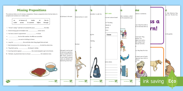 Prepositions And Prepositional Phrases Worksheets
