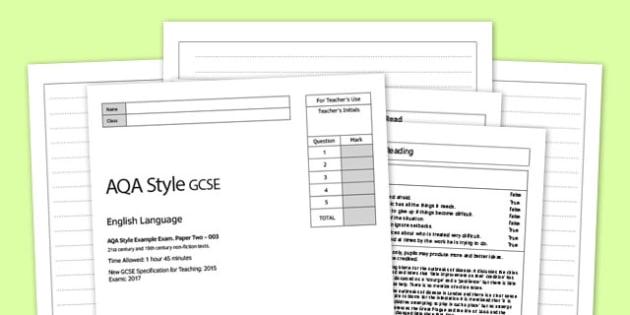 AQA English Language Paper 1 Practise Paper