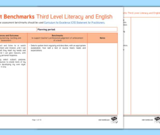 Cfe Benchmarks Third Level Literacy And English Assessment Tracker Scottish