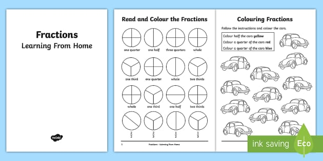 Year 2 Fractions Learning From Home Maths Activity Booklet
