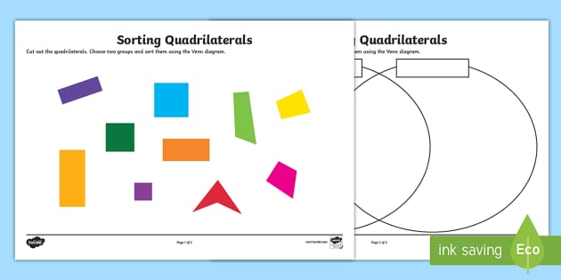 Sorting Quadrilaterals Worksheet Activity Sheet