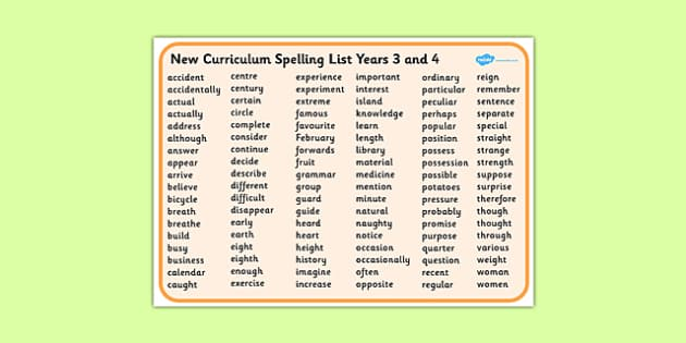 New Curriculum Spelling List Years 3 And 4 Word Mat New