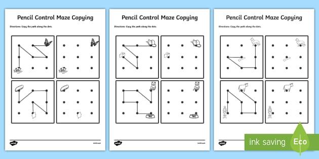 Pencil Control Maze Copying Worksheet Activity Sheet