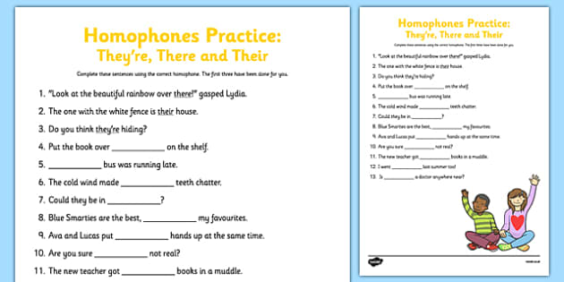 There Their And They Re Homophones Practice Worksheet