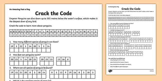 Crack The Code Worksheet Worksheet Amazing Fact A Day