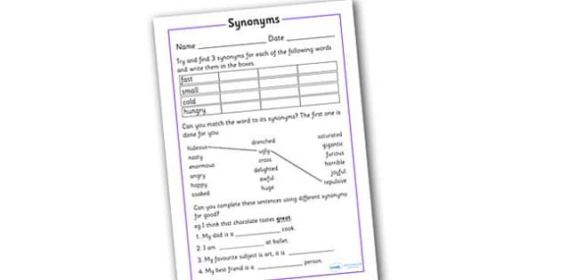 Synonym Activity Worksheet