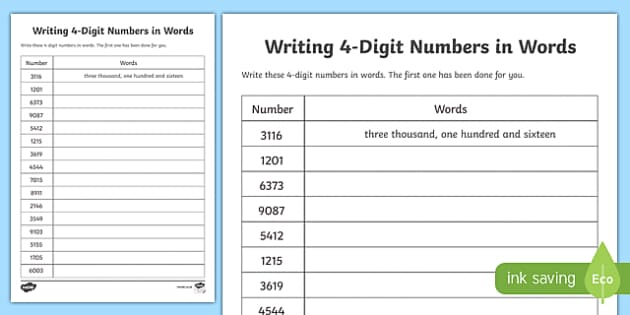 Writing Digits In Words