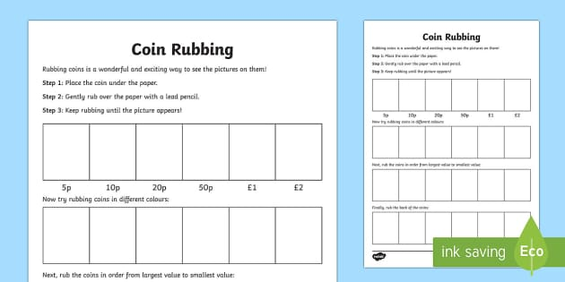 Coin Rubbing Worksheet Worksheet Teacher Made