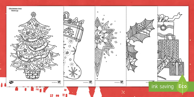 Christmas Themed Mindfulness Colouring Pages EnglishHindi