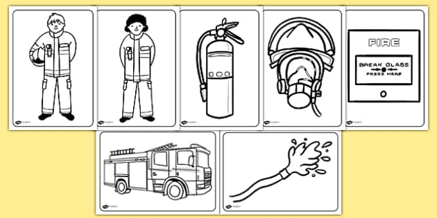 free!  fire service colouring pages (teacher made)